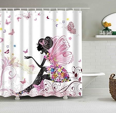 lavabili antimuffa Set di tende da doccia per bagno 180 x 180 cm Fuloon fiori bianchi e schiacciati 72 x 72 impermeabili con 12 anelli