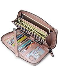 61b02b775577 Women RFID Blocking Wallet Leather Zip Around Phone Clutch Large Travel  Purse Wristlet