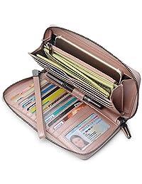 Women RFID Blocking Wallet Leather Zip Around Phone Clutch Large Capacity Travel ladies Purse Wristlet