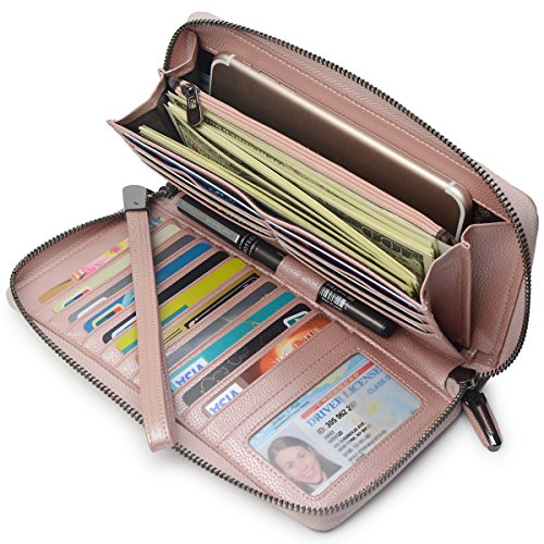 Women RFID Blocking Wallet Leather Zip Around Phone Clutch Large Travel Purse Wristlet (Rose -