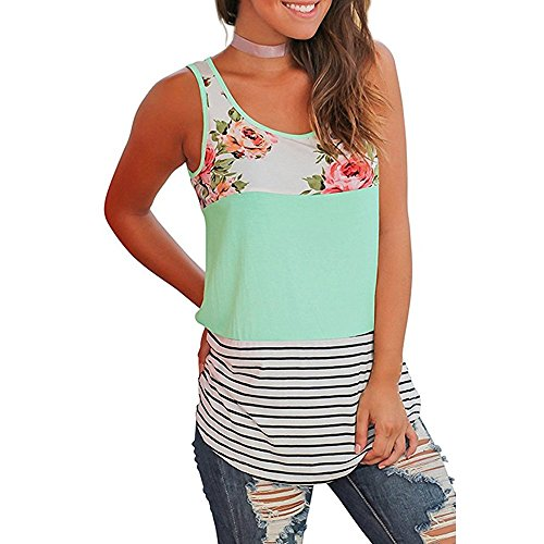 Women Casual Floral Stripe Print Patchwork Sleeveless Tank Top Vest Blouse