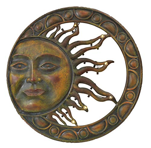 (Premium Large Solar Lighted Metal Sun Face Outdoor Patio Wall Hanging (20