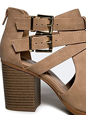Cut Out Buckle Ankle Bootie - Low Stacked Wood Heel Western Round Boot - Vegan Leather Sammi by J. Adams