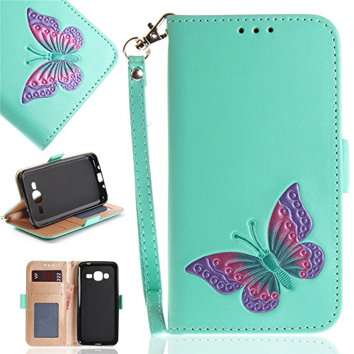 Torubia Samsung Galaxy J3 (2016) J310 Case, Samsung Galaxy J3 (2016) J310 Leather Case Compatible with Folio Flip Cover Anti-Scratch Slim Shell Compatible with Samsung Galaxy J3 (2016) J310 (Mint