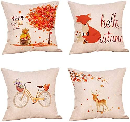 Amazon Com Damuiyans 16 X 16 Inches Happy Fall Yall Throw Pillow Case Bycicle Maple Leaves Deer Fox Rustic Farmhouse Autumn Decorative Cushion Cover For Home Sofa Set Of 4 Home Kitchen