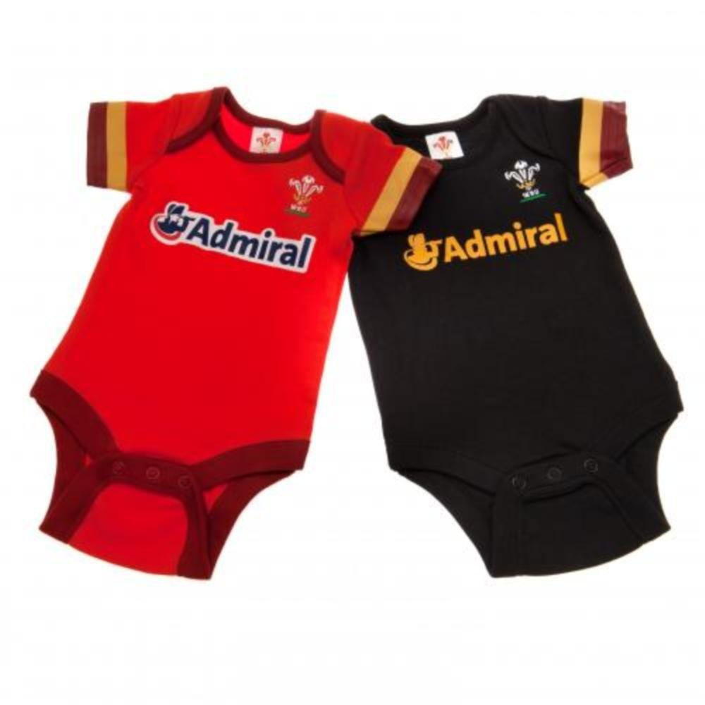 2 PACK BODYSUIT WALES WELSH RYB RUGBY WRU BABY 12-18 MONTHS RED HOME KIT AUTHENTIC AUTHENTIC WALES WRU ITEM