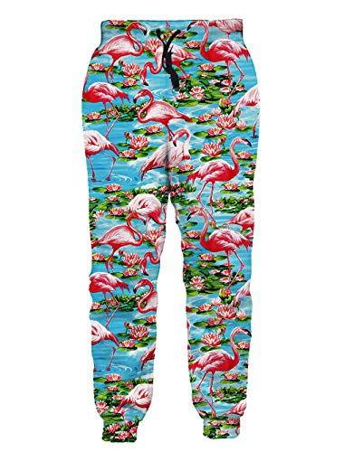 Loveternal Men Women 3D Printed Pants Flamingo Graphric Lotus Blue Lake Jogging Pants Cute Anime Summer Cool Joggers Casual Sports Workout Sweatpant S]()