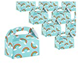 Treat Boxes - 24-Pack Paper Party Favor Boxes, Rainbow Design Goodie Boxes for Birthdays and Events, 2 Dozen Party Gable Boxes, 6 x 3.3 x 3.6 inches