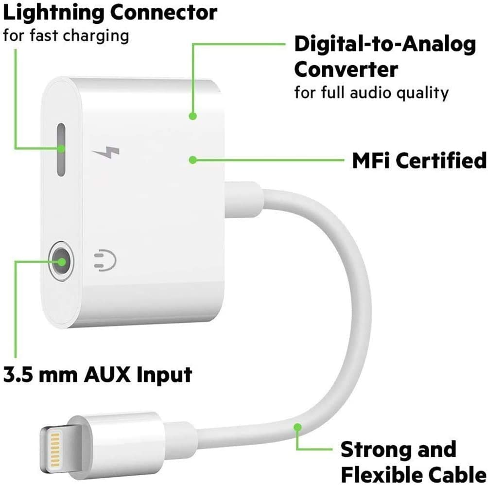 Apple MFi Certified Lightning to 3.5 mm Headphone Adapter Dual Ports Dongle Charger Jack/&AUX Audio 3.5 mm Earphone Accessory,for iPhone 11//11 Pro//X//8,7 Plus//8 Plug and Play Support All iOS System