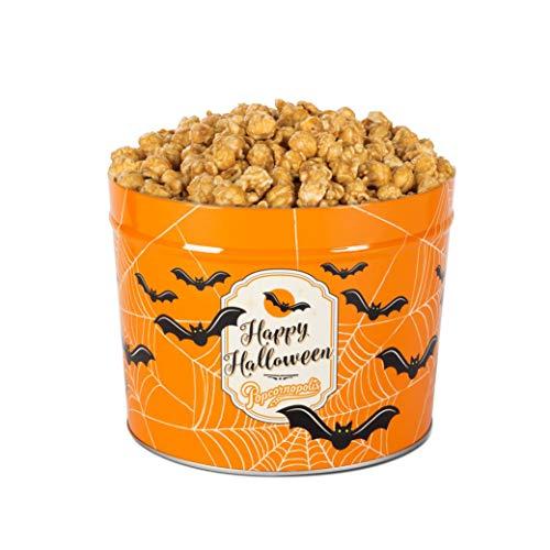 Popcornopolis Gourmet Popcorn 1.26 Gallon Tin with Caramel Corn, Halloween