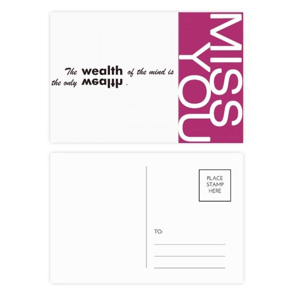 Quote The Wealth Of Mind Is The Only Wealth Miss Postcard Set Thanks Card Mailing Side 20pcs