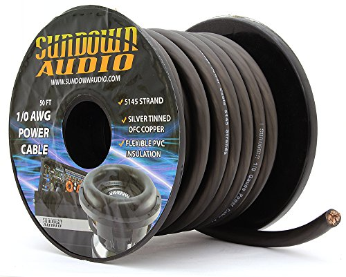 SA-1/0-OFC Black - Sundown Audio 50 Feet Power Cable Copper Wire (Spool) by Sundown Audio