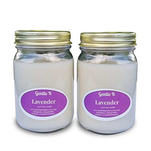 oured All Natural Clean Burning Soy Scented Candles- 13 Fragrances - 16oz Glass Mason Jar (Lavender) with Therapeutic Essential Oil (Set of 2) - Similar to Larger Brands ()