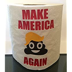 Funny Make America Krap Again Anti Donald Trump Toilet Paper ~ Great ~ Hater ~ Poop Emoji with Trump Hair ~ Perfect for the Trump Supporter You Love to Hate! - IMAGE ON FIRST SHEET ONLY!