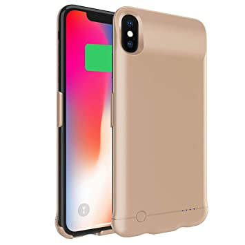 Happon Funda Bateria iPhone XS MAX, 6200mAh Batería Cargador Externa Ultra Carcasa Batería Recargable Power Bank Portatil para iPhone XS MAX - Dorado
