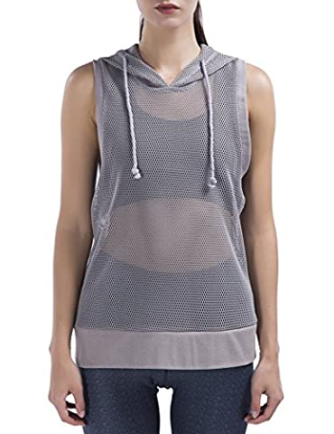 Special Magic Women's Short Sleeve Full Mesh Hooded Hoodie with Metal Zip Light Grey L - Bwh Light Control