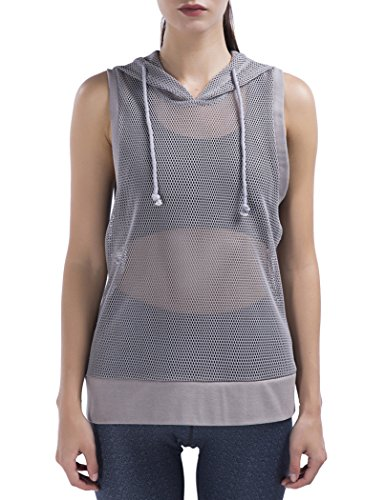 (SPECIALMAGIC Women's Fishnet Mesh Hooded See Through Casual Sleeveless Shirt Pullover Top Light Grey)