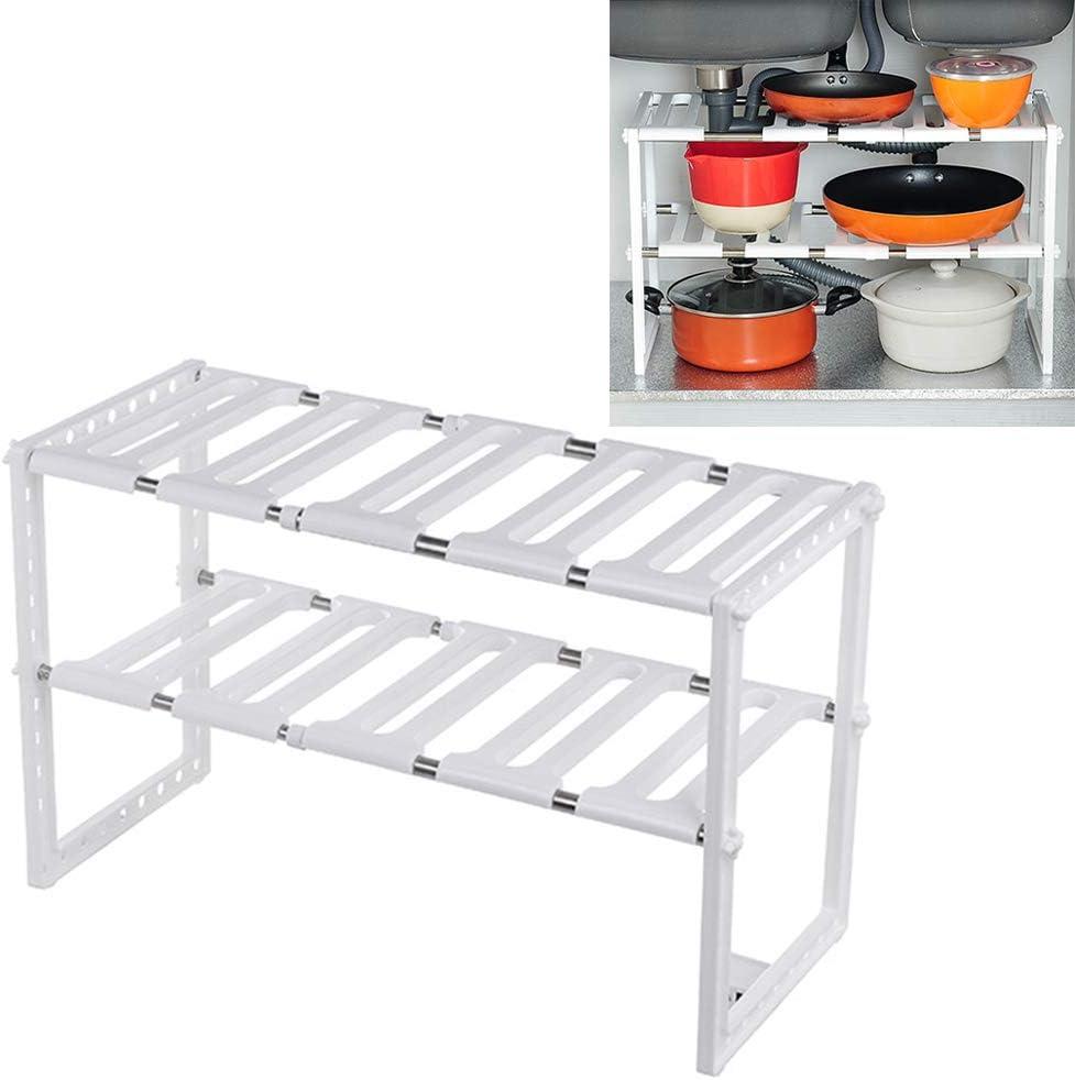 Blanc AzulLanse Under Sink Shelf Organiser Rack Extensible Organisateur pour Cuisine Salle de Bain Chambre Salon Longueur Etagere Cuisine Extensible 15 to 27