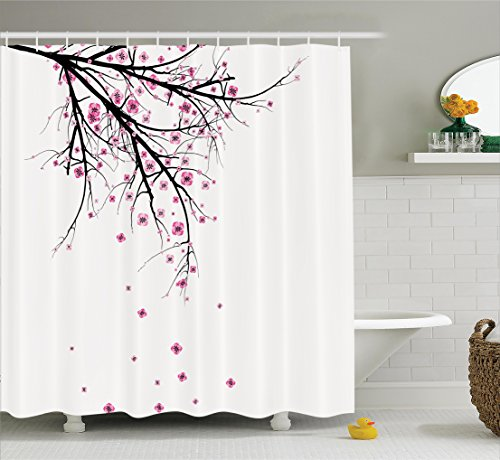 Ambesonne House Decor Shower Curtain Set, Cherry Blossoming Falling Petals Flowers Springtime Park Simple Illustration Print, Bathroom Accessories, 69W X 70L inches, Pink - Curtain Blossom Shower Cherry