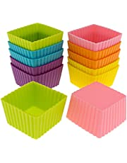 Freshware Silicone Mini Square Reusable Cupcake and Muffin Baking Cup, Six Vibrant Colours, 12-Pack, CB-301SC