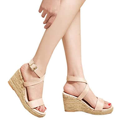 daf0b5518 Women High Heel Sandals Ladies Summer Peep Toe Platform Wedges Buckle Strap Sandals  Casual Dress Shoes