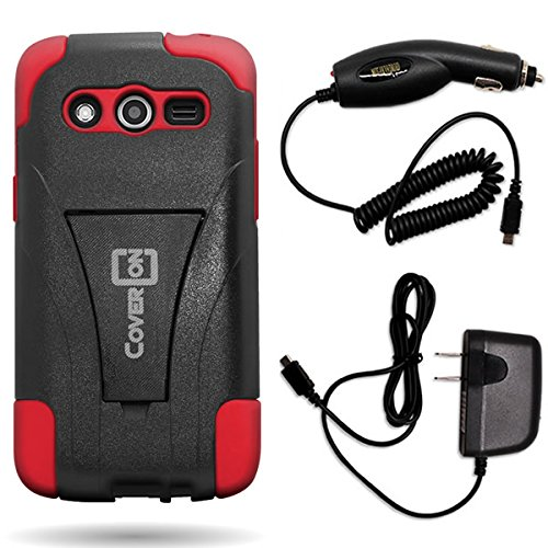 Samsung Galaxy Avant Hybrid Case Bundle by CoverON, Heavy Duty Kickstand Cover for Samsung Galaxy Avant - [Hard Black Plastic + Soft Red Silicone Gel Skin] Micro USB Home Charger & Car Charger
