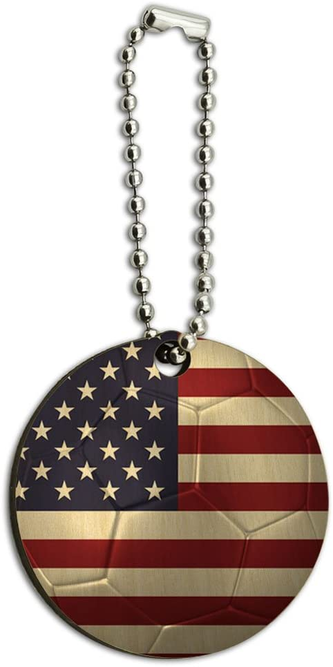 Graphics and More The United States Flag Soccer Ball Futbol Football Wood Wooden Round Key Chain