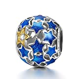 "NinaQueen ""Starry Night"" 925 Sterling Silver Openwork Charms Star Jewellery Blue Stars Vintage Pendent"