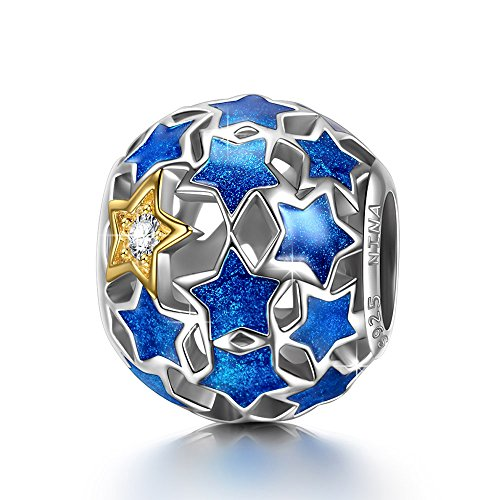 NINAQUEEN 925 Sterling Silver Star Blue Charm Bead for Mothers Day Mom Women Girl fit for Pandora Bracelet Fine Jewellery Birthday Gift for Lady Sister Her Anniversary Present for Wife -