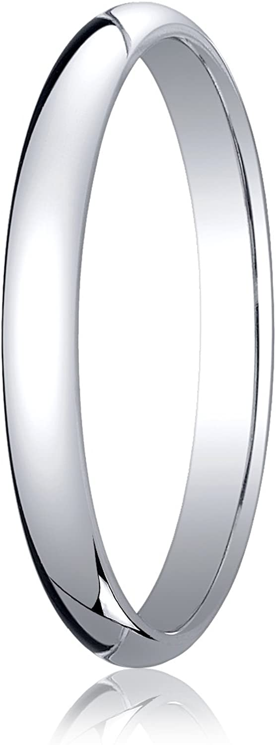 Men's Platinum 2.5mm Traditional Dome Oval Wedding Band Ring