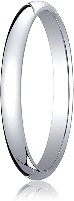 Mens 18K White Gold 2.5mm Traditional Dome Oval Wedding Band Ring