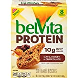 belVita Protein Oats, Honey & Chocolate Soft Baked Biscuits, 8 Count Box, 14.08 Ounce