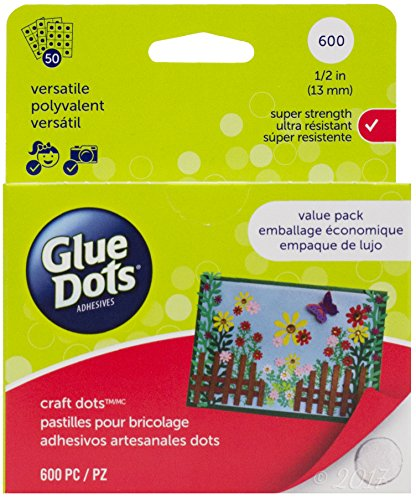 Glue Dots Craft Glue Dot Value Pack, 1/2 Inch, Clear, Pack of 600]()