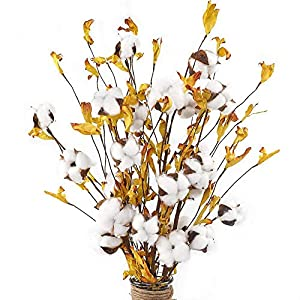 Silk Flower Arrangements AGEOMET 5pcs 21 Inches Cotton Stems with 4 Cotton Flower Heads and Yellow Leaves for Fall Farmhouse Style Home Decoration