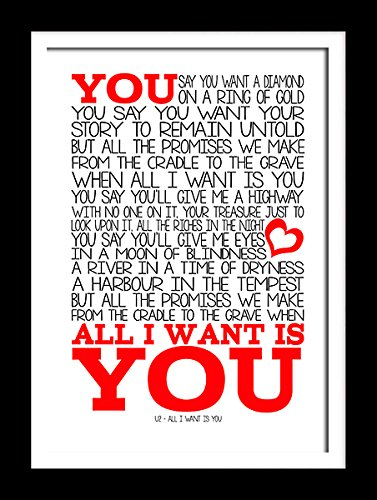 A3 U2- All I Want Is You Art Song Lyrics Typography Poster