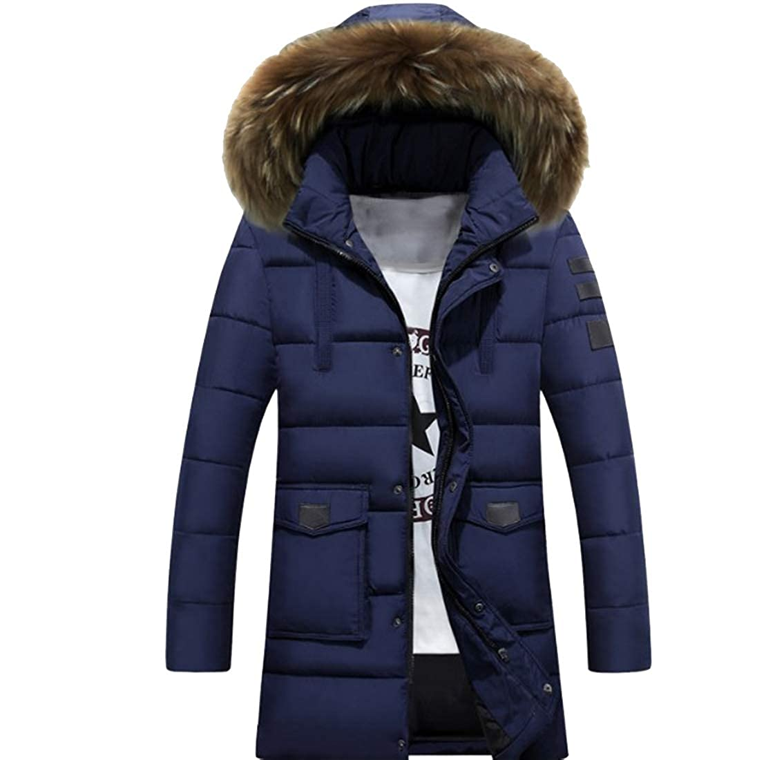 Jotebriyo Mens Faux Fur Hooded Thermal Mid Length Plus Size Down Quilted Puffer Jacket Coat Outerwear