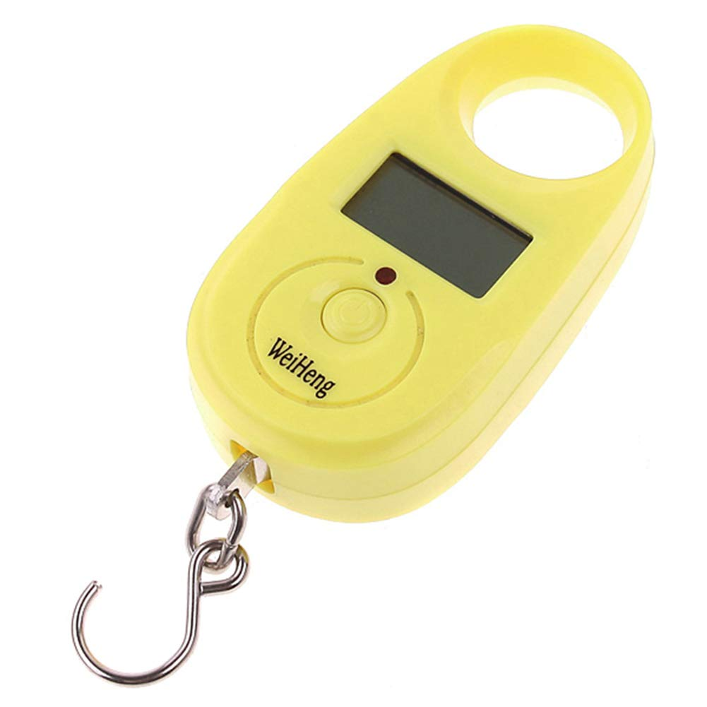 Alamana 25KG Mini Portable Backlight LCD Travel Luggage Bag Hook Weighing Scale Yellow