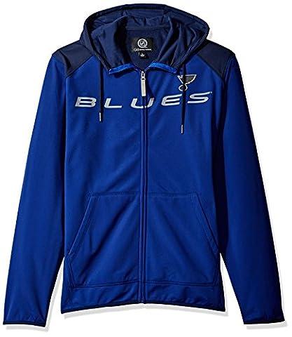NHL St. Louis Blues Men's Superset Full Zip Fleece Hoody, Large, Royal/Navy - Full Zip Hockey Hoody