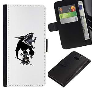 NEECELL GIFT forCITY // Billetera de cuero Caso Cubierta de protección Carcasa / Leather Wallet Case for HTC One M8 // Goth bebé