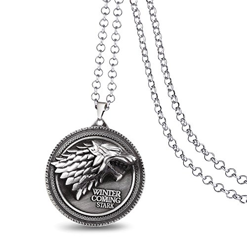 DTKJ Necklace Pendant Game of Throne Necklace House Stark Winter is Coming Logo Wolf Bronze Silver Pendant Necklaces Mens Jewelry Collar