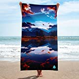 PhotoBeachTowel Mountain Water Reflection Towel