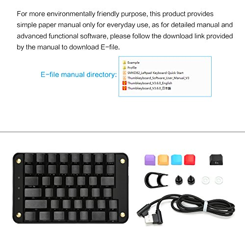 Game Hardware Koolertron Single-Handed Programmable Mechanical Keyboard  with Cherry MX Red Switch, All 44 Programmable Keys Tools Keypad, 8 Macro