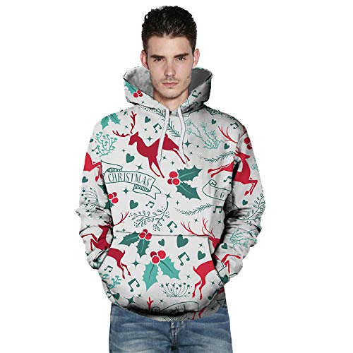 BHYDRY Lover Sweatshirt Casual Autumn Winter Christmas Printing Long Sleeve Hoodies White-c