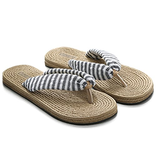 Flip Women's Shoes Slipper Non Sandals Gray Flat Sandals Slip ENCOCO Linen Flop Breathable Beach B5AaCxnqw