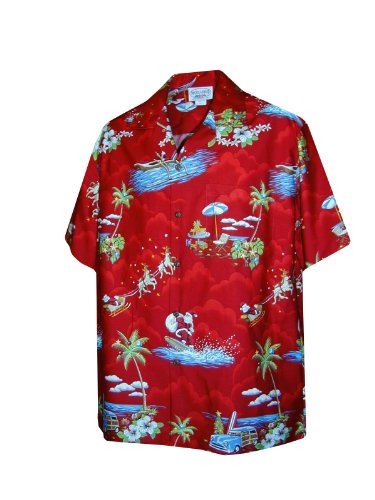 Pacific Legend Men's Santa's Hawaiian Vacation Hawaiian Shirt Red XL