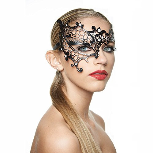 Exquisite Phantom of the Opera Black Masquerade Mask (Clear Rhinestines; One Size Fits All) -
