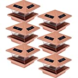 (6 Pack) Greenlighting High End Solar LED Post Cap Light for 4 x 4 Wood Posts (Copper)