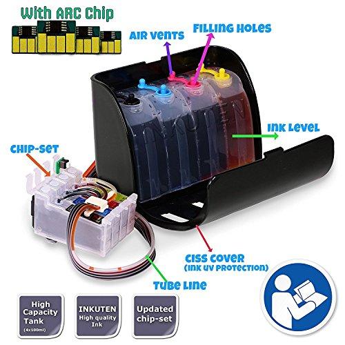 INKOA (TM) CIS CISS Continuous Ink Supply System For WorkForce WF-3540 WF-3520 WF-7010 WF-7510 WF-7520 WF 845 840 545 635 630 T127 ()