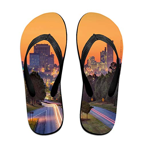 Funny Summer Flip Flop, Skyline of Columbia City South Carolina Main Street Urban SceneFor Children Adults Men and Women Beach Sandals Pool Party Slippers Black]()