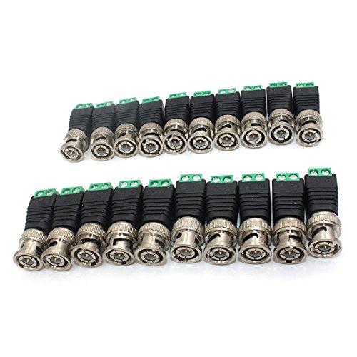 (ZRAMO 20 Pcs Q9 Screw Terminal Camera Video BNC Male Balun Adapter Connector for Coax CAT5 CCTV Security Camera)